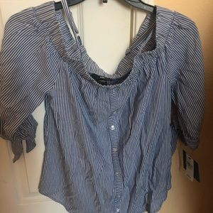 Tops - NWT striped off the shoulders blouse size xs